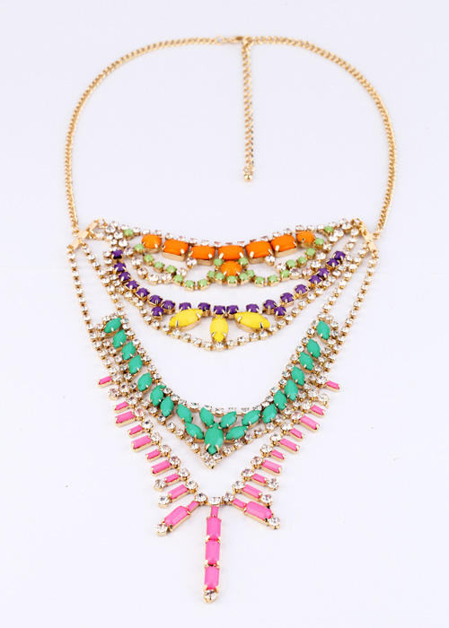 KISS ME Fashion Accessories Candy Multi Layer Gem Statement Necklace 2017 Famous Brand Jewelry Factory Wholesale