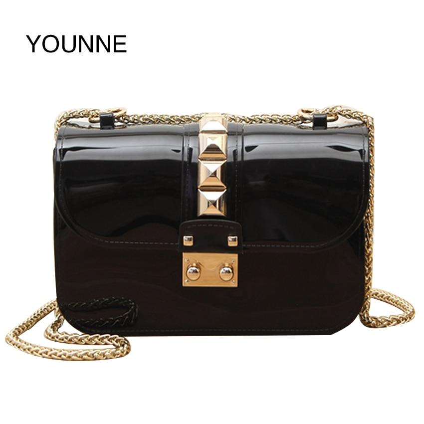 Younne Fashion Trend Leather Women Messenger Bags Gold Rivets Chain Small Flap Shoulder Bag Solid Color Famous Brand Handbag
