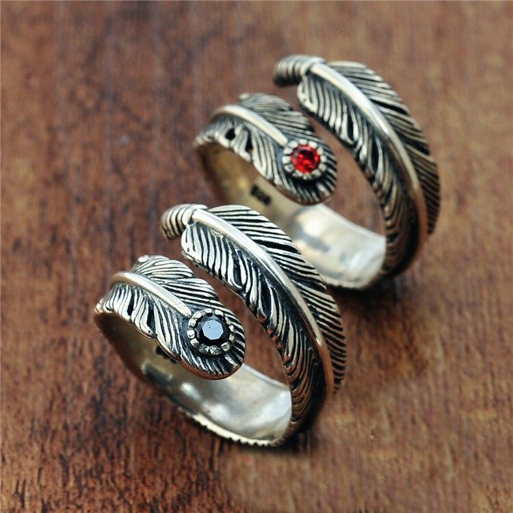 Bague en argent Sterling avec pierres précieuses noires rouges pour hommes et femmes