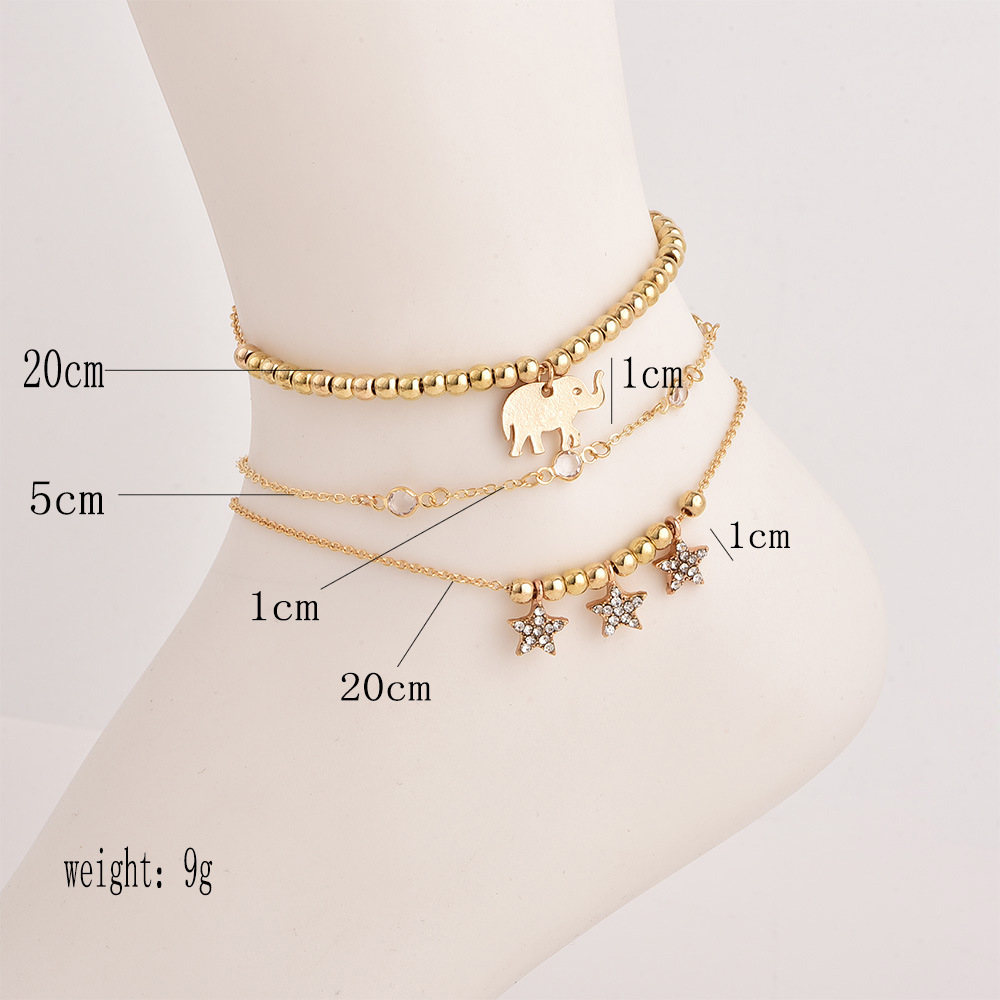 3PCS Elephant Star Anklet for Women Boho Crystal Bracelet Cheville Barefoot  Sandals Pulseras Tobilleras Mujer Foot Jewelry 2018-in Anklets from Jewelry  ... 866364305d35