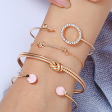Europe and the United States new retro 4 pieces / set of charm bracelets and bracelets women's simple round bracelet combination