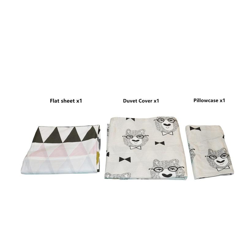 3 pièces bébé literie ensemble coton bébé berceau ensembles ours motif bébé linge inclure housse de couette taie d'oreiller drap plat sans remplissage