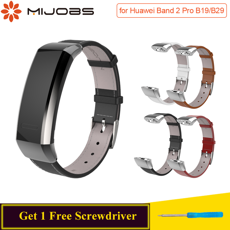 Mijobs Genuine Leather Strap For Huawei Band 2 Pro B29 B19 Sports Wristband Smart Watch Bracelet Replace For Huawei Band 2 Strap