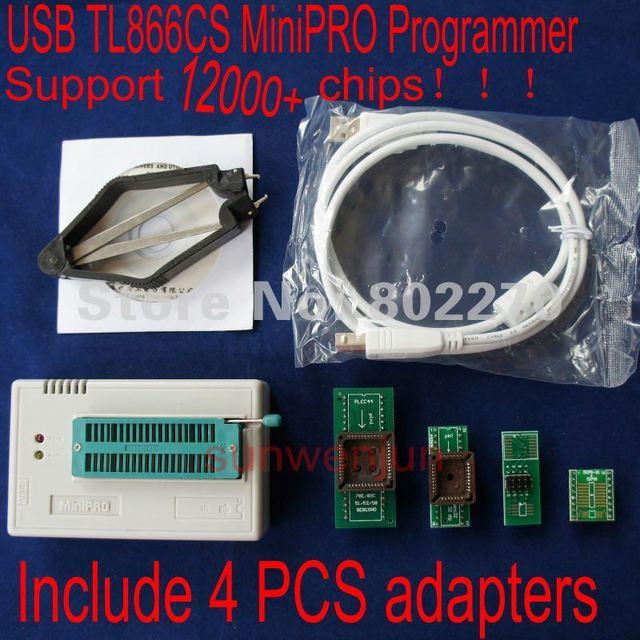 Alta velocidade USB Universal Programmer MiniPro TL866CS incluem 4 PCS adaptadores suportam mais de 12000 fichas apoiar WIN7 64bit