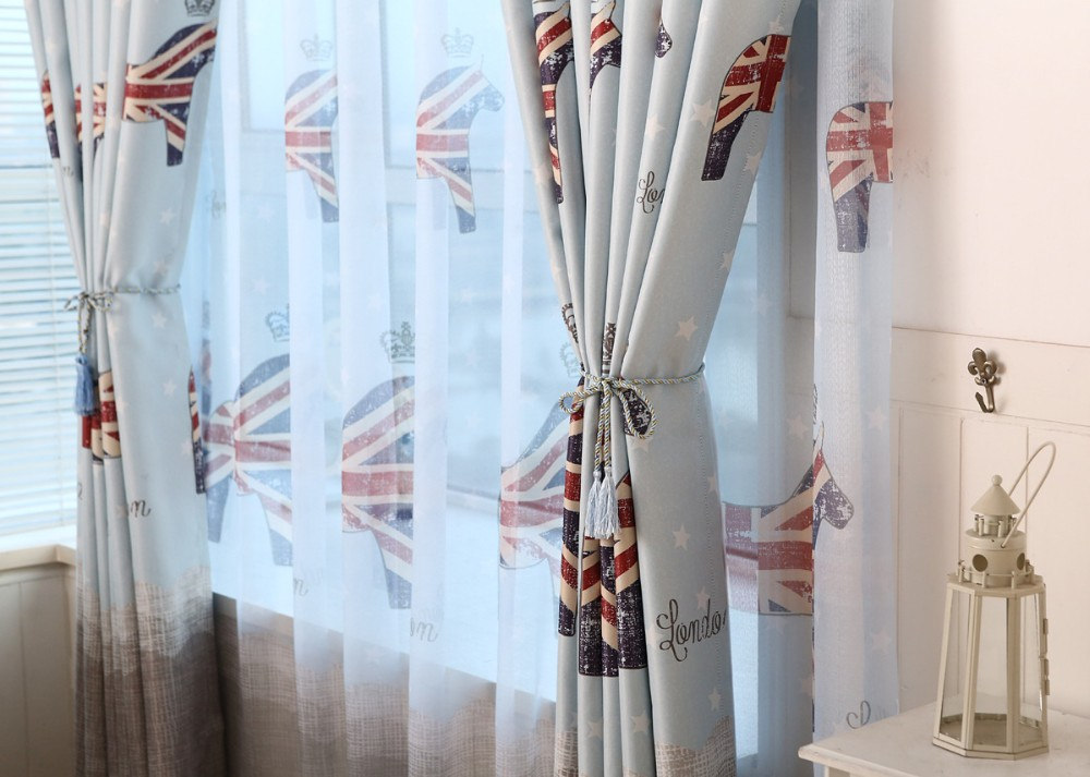 lichtblauw britse stijl kinderen gordijnen slaapkamer ramen en