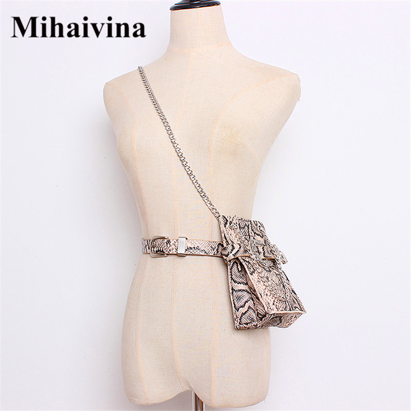 Mihaivina Leather Waist Pack Serpentine Fanny Packs For Women Chain Shoulder Bags Carving Buckle Belt Bucket Bag Fit Iphone Plus