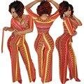 Adogirl Bnadage Macacão Senhoras Jumpsuits Impressos 2016 Mulheres Largas pernas de Boot Cut Calças Compridas Macacão de Uma Peça Macacão Outfits