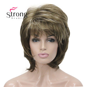 Image 3 - StrongBeauty Short Fluffy Layered Light Brown Highlighted Classic Cap Full Synthetic Wig Womens Hair Wigs COLOUR CHOICES