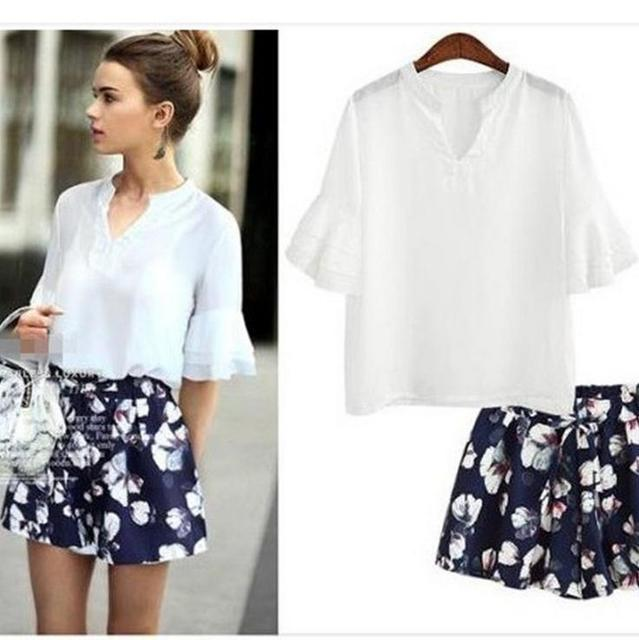 3063c44588b7 Xl-5xl Plus Size Women s Chiffon Sets V-Neck Half Sleeve Tops Floral Mid- Waist Cotton Drawstring Pants Ladies Clothes Sets BF611