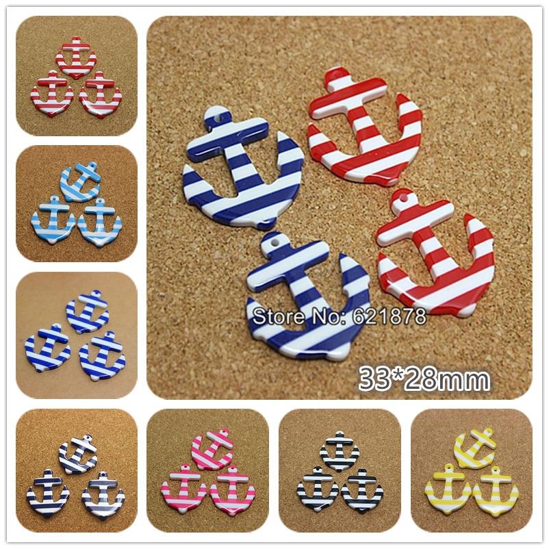>10pcs 33*28mm stripe <font><b>anchor</b></font> <font><b>nautical</b></font> sailor resin flatback cabochon for DIY jewelry/craft decoration
