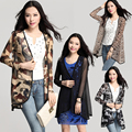 2015 Весна Лето Пальто Мода Длинным Рукавом Плюс Размер Леопарда Печатных Марли Женщин Пальто Тонкий Кардиган Платья XL-XXXL
