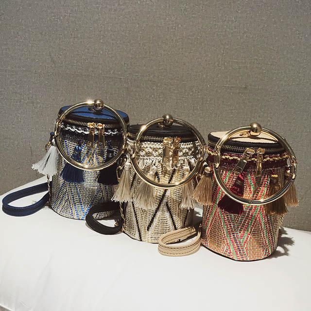 Online Shop Trendy Straw Pu Leather Fringe Round Cylinders ladies Casual Tote  Handbag Crossbody Mini Messenger Bag Bolsa For Women Pouch