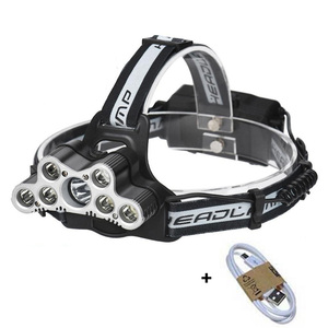 9LEDs High Power Head Torch T6 Waterproof Forntale Headlamp 6 Modes USB Rechargeable Fishing Headlight for Outdoor Sport(China)