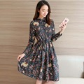 2017 New Women Spring Summer Dress Fashion Floral Print Chiffon Dress Female A-Line Turn-down Collar Dress Casual Style Dresses