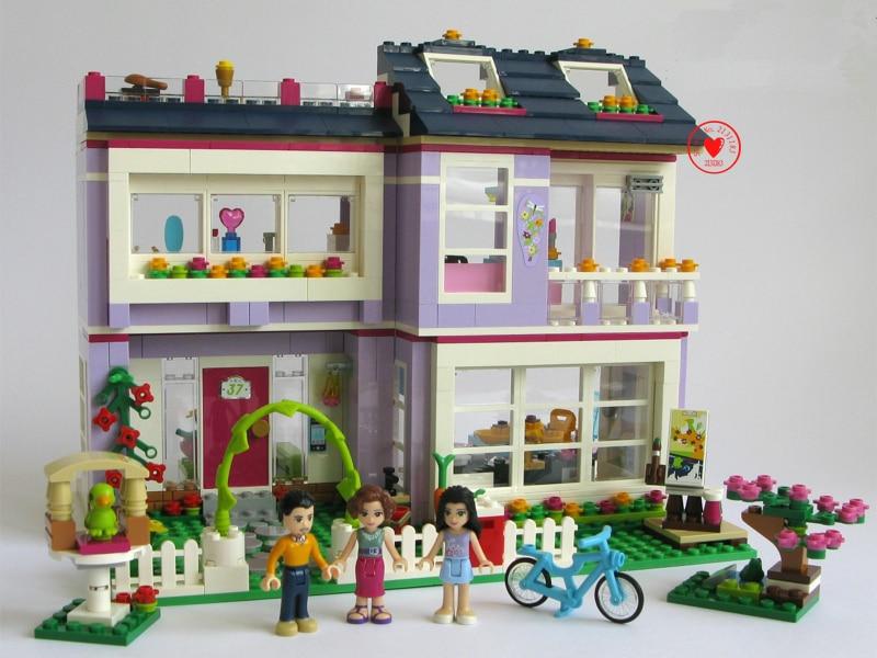Galleria fotografica New Heartlake <font><b>Friends</b></font> Emmas House fit <font><b>legoings</b></font> <font><b>friends</b></font> figures city model Building Block bricks set Classical girl toy fit 41095