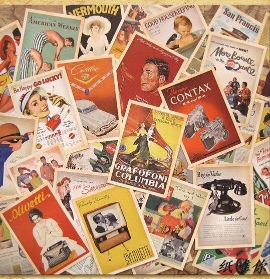 32 Pcs Europe Poster Cards Collector Retro Nostalgia Postcards Cartoon Card  Carte Postale Office School Supplies