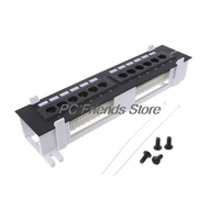 12 Port CAT5 CAT5E Patch Panel RJ45 Networking Wall Mount Rack Mount Bracket PC Friend