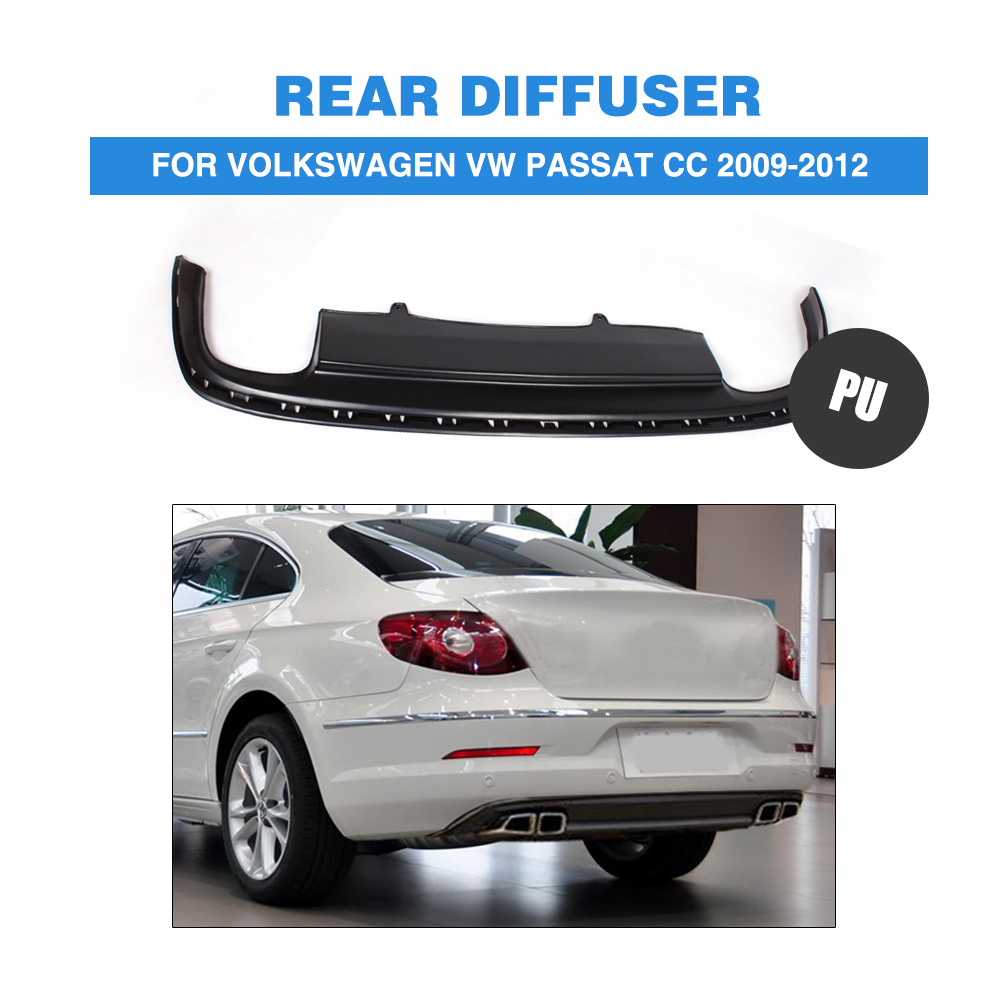 Rear Bumper Lip Diffuser Spoiler Apron For Volkswagon VW Passat CC 2009-2012 PU Matt Black Car Styling