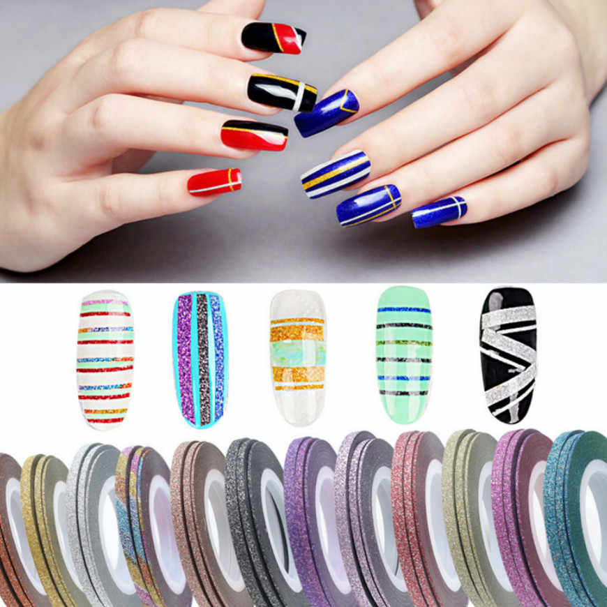 2019 HOT 1mm Glitter Nail Striping Line Tape Sticker Set Art Decorations DIY Tips For Polish Nail Gel Rhinestones Decorat JKw14