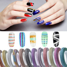 2019 HOT 1mm Glitter Nail Striping Line Tape Sticker Set Art Decorations DIY Tips For Polish Nail Gel Rhinestones Decorat JKw14(China)