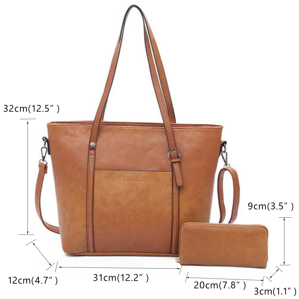 Women Shoulder Two-piece Leather Handbag  4