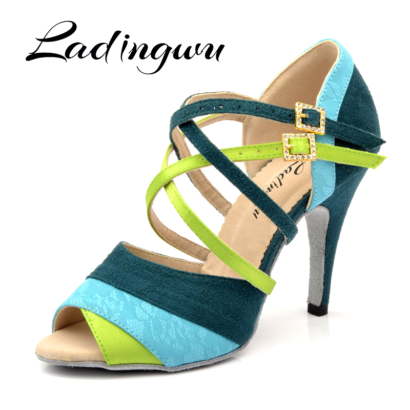 Ladingwu Brand New Women's Dance Shoes Heeled Tango Ballroom Latin Salsa Dancing Shoes For Women Hot Sales Brown Green Suede