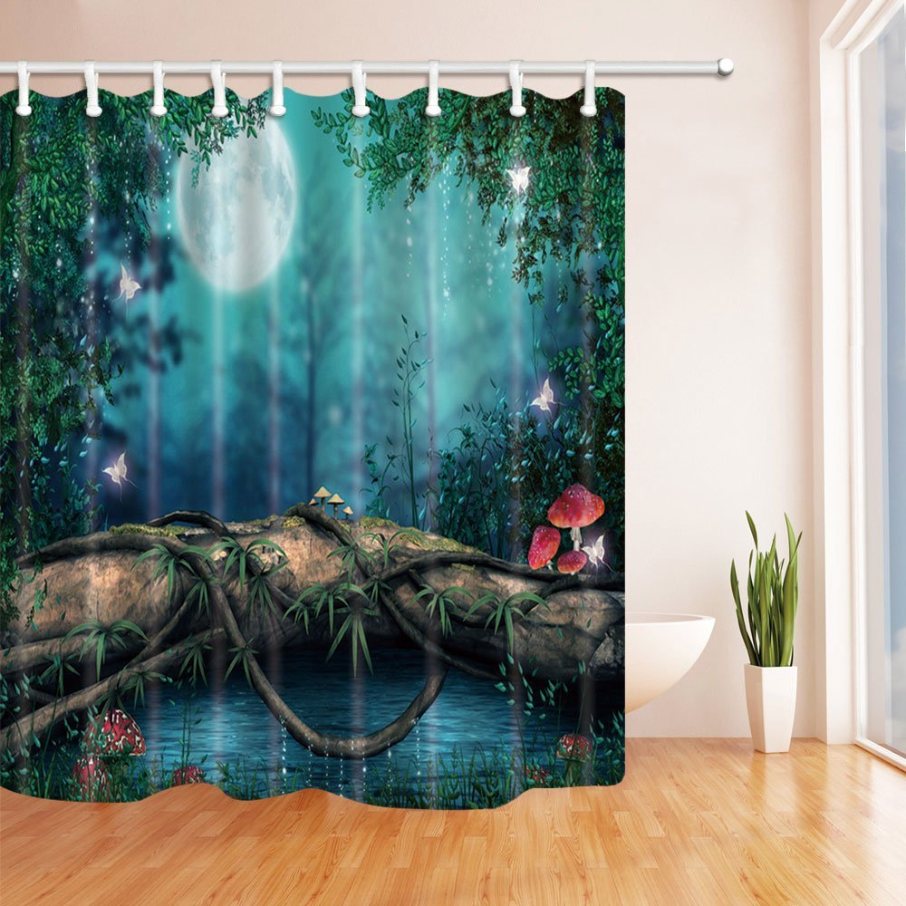 Fairy Tale Fairyland A Wooden Bridge in the Forest Shower Curtain in Bath 69X70 inches Mildew Resistant