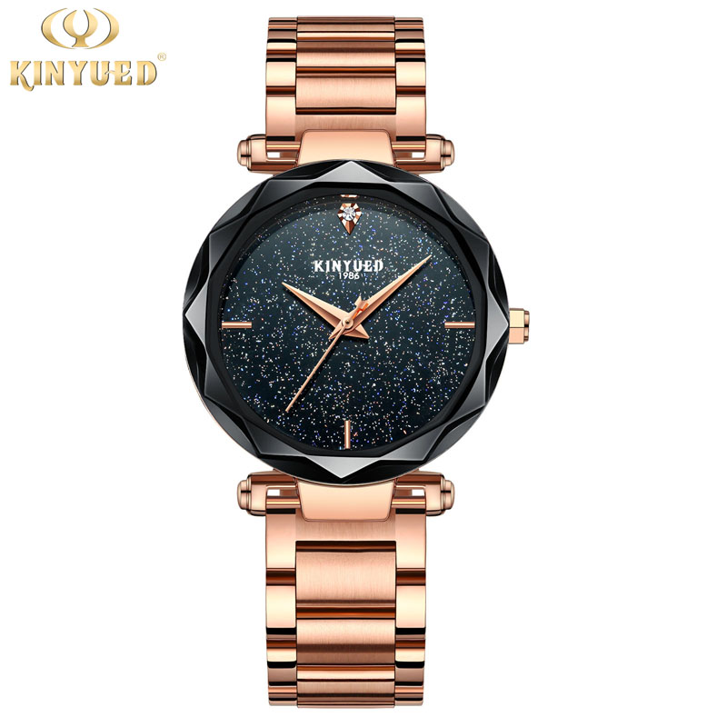 KINYUED Women Watches Luxury Brand Fashion Simple Fashion Quartz Watches for Women Star dial design waterproof Ladies watch 2018 цена