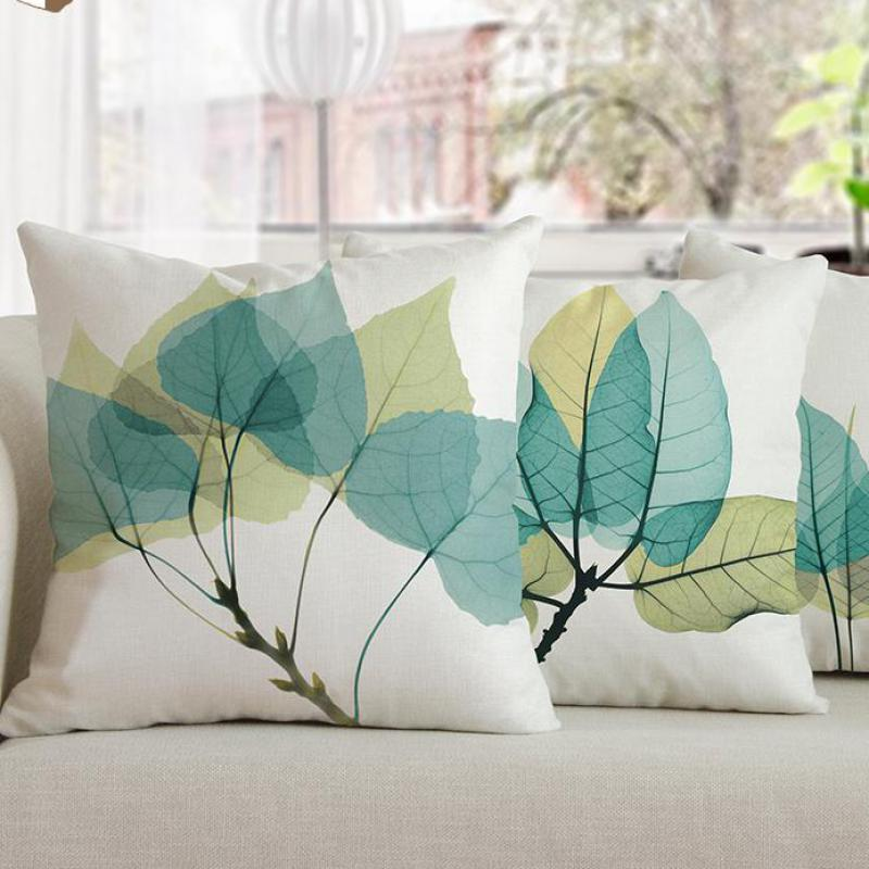 Modern Minimalist Home Dcor Watercolor Blue Green Leaves Decorative Pillows Simple Tree Leaf Nordic Cushion For Office Chair