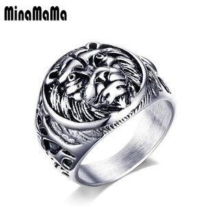 Кольца мужские, модные, из нержавеющей стали 316, с изображением Льва