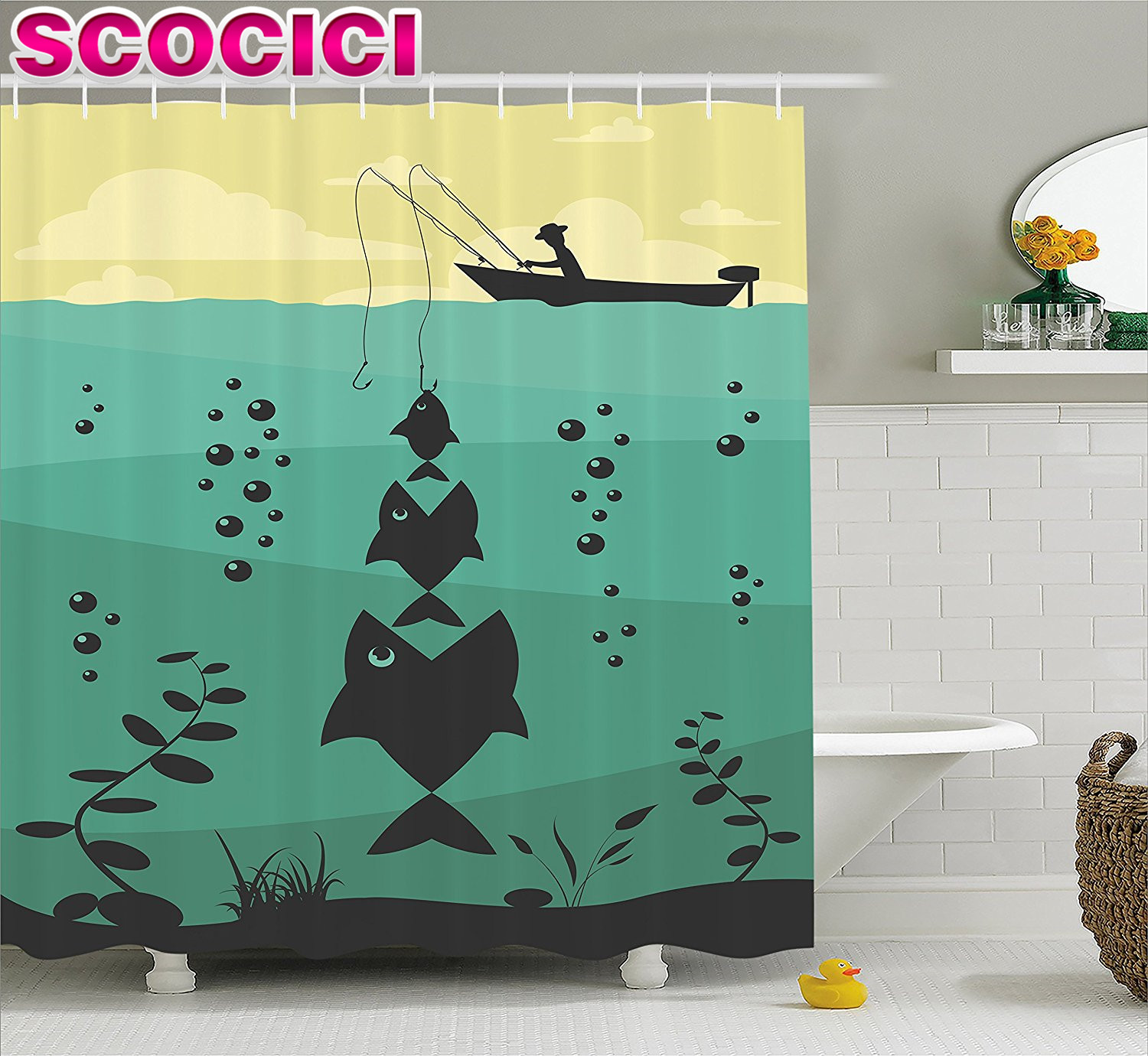 Fishing Decor Shower Curtain Big Fish Eats Little Textured Design in River  with Trawler Rod Home Decor Fabric Bathroom Decor Set