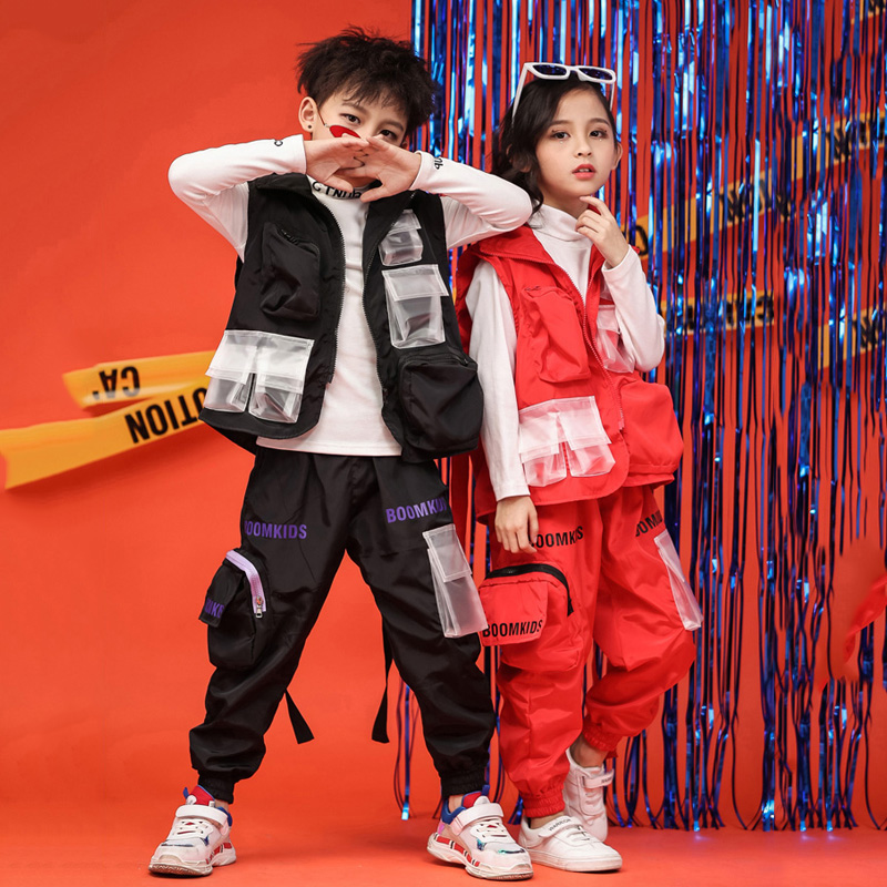 New Kids Boys Hip-hop Suit Children Hiphop Waistcoat Korean Handsome Hip-hop Girls Costume 100-170cm Height