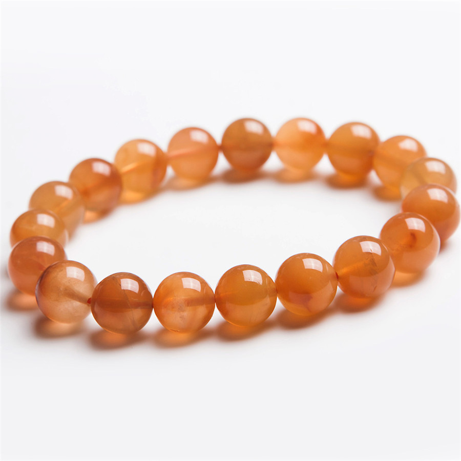 Women Ladies Fashion 11mm Unique One Strand Genuine Round Natural Red Rabbit Hair Rutilated Quartz Crystal Beads Bracelet