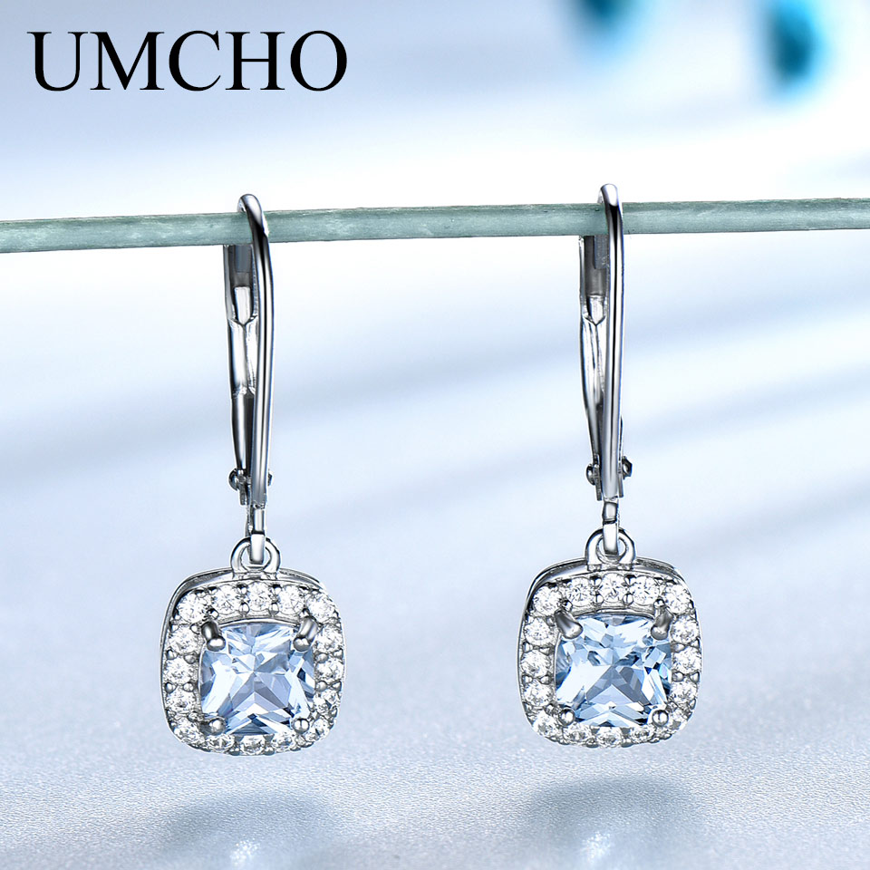 UMCHO Sky Blue Topaz Earrings Gemstone Aquamarine Clip Earrings Real 100% 925 Silver Jewelry For Women Elegant Gift Fine Jewelry