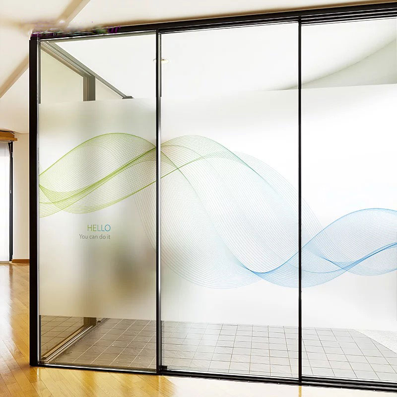 Wave office glass film stained window opaque sticker static cling decor privacy custom size meeting room sliding door decals