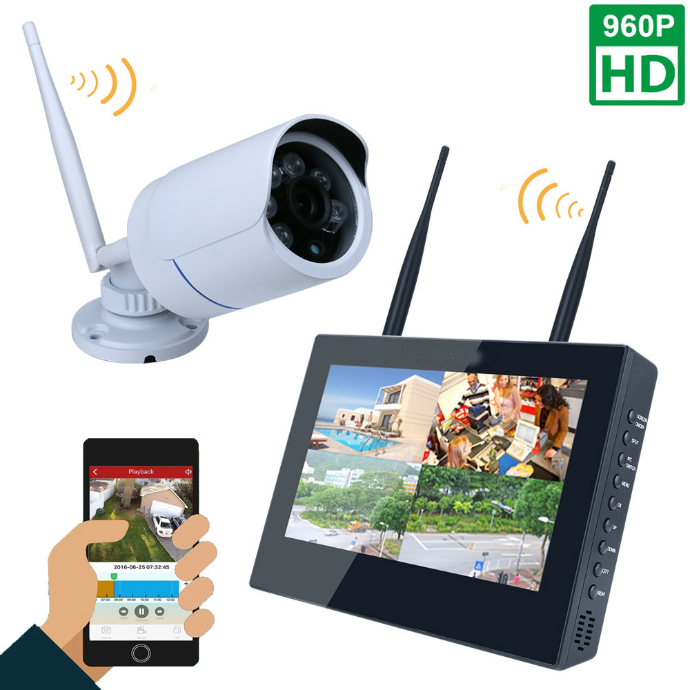 10inch LCD Screen Monitor 4CH 960P Wifi Wireless NVR Recorder Security With 1x 960P 1.3MP Weatherproof outdoor Dome Cameras