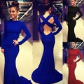Luxury trendy Lady Sexy Neck Long Sleeves Open Back Blue Long Dress women party dresses 50