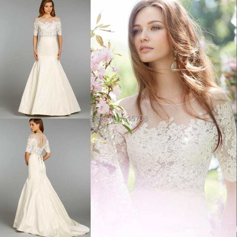 Simple Design 2015 Lace Wedding Dress Sheer Neck With Half