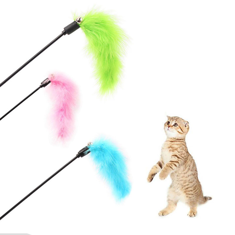 Interesting Solid Color Short Game Plush Funny Cat Stick Kitten Pet Teaser Feather Activity Toy Wire Chaser Wand Toys