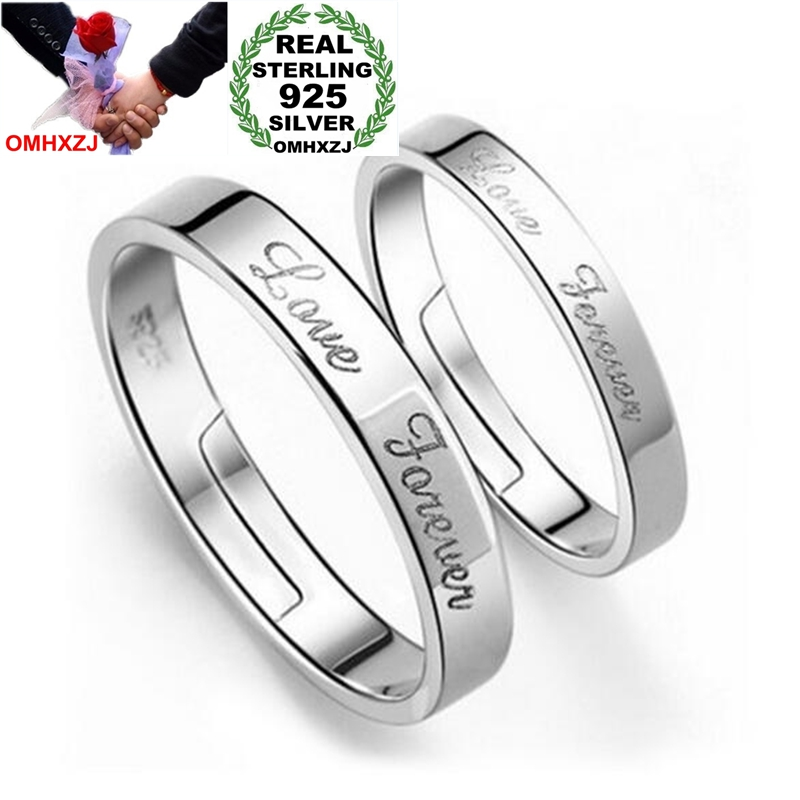 OMHXZJ Wholesale Fashion English Forever Love Lovers Couple 925 Sterling Silver Open Adjust Female For Woman Man Ring Gift RG30