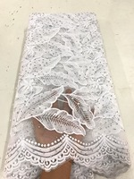 White Lace African Tulle Lace Fabric 2017 Pure White French Lace Fabric High Quality With Stones
