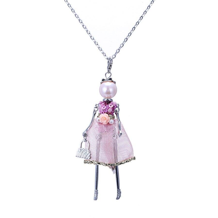 f4847aab7 جديد وصول الفرنسي دمى قلادة الأزياء دمية امرأة فستان طويل قلادة جميلة قلادة  قلادة مجوهرات شحن مجاني