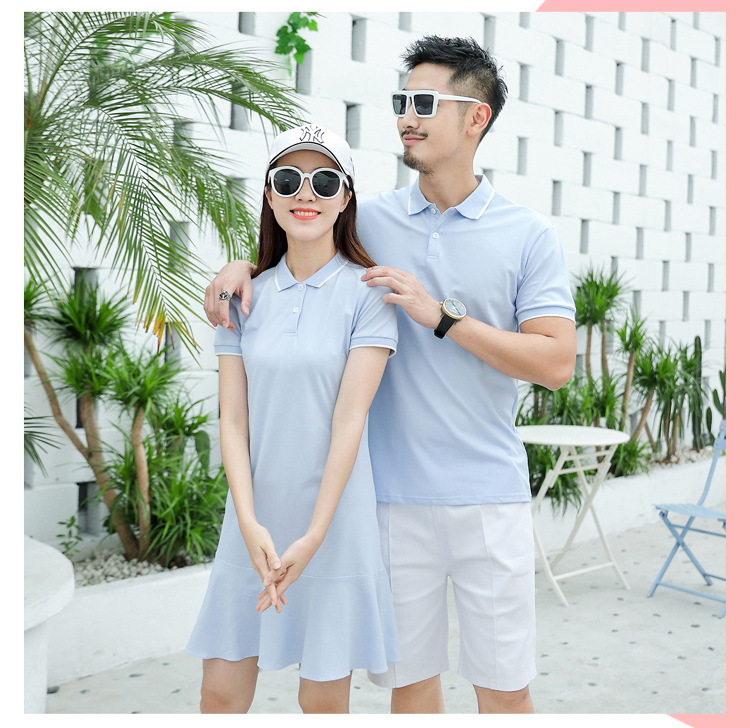 HTB1YN16XAL0gK0jSZFxq6xWHVXaY - family matching outfits summer Polo shirt mother daughter matching dresses dad son turn down collar family couple clothes