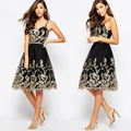 Gold Black dress fashion backless Autumn sleeveless Lace women dresses Retro Vintage Lace Princess A line Dress  S M L XL
