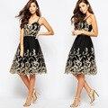 Ouro vestido Preto sem encosto moda Outono Rendas sem mangas das mulheres vestidos Retro Do Laço Do Vintage Da Princesa Uma linha Vestido S M L XL