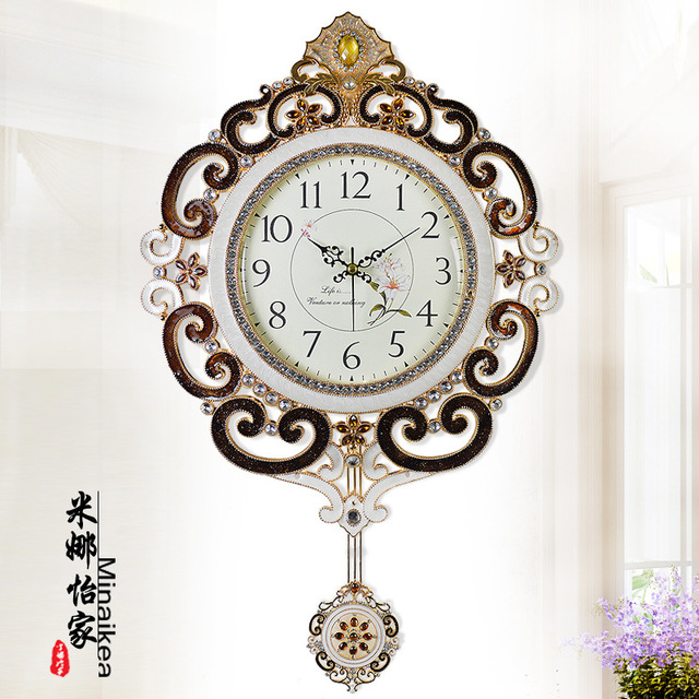 q 25 inches large wall clock swing mute clock creative metal quartz clock home decoration luxury