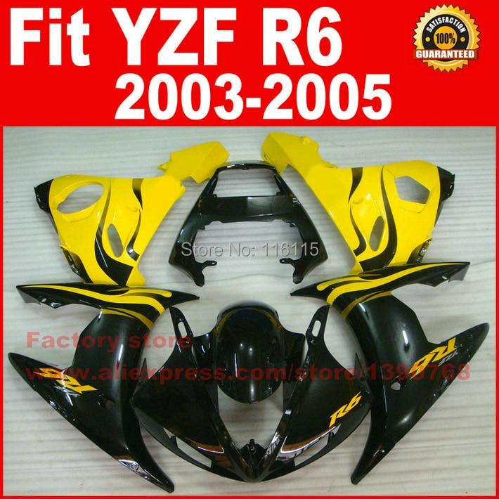Yellow black Body kit for YAMAHA R6 fairings 2003 2004 2005 YZFR6 fairing kit 03 04 05 bodywork kits A9M8 new motorcycle fairings kit for yamaha r6 2003 2004 2005 yzf r6 03 04 05 yellow black fairing kits body repair part