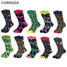 10 pares/lote marca de qualidade dos homens meias algodão penteado colorido feliz engraçado meias outono inverno quente casual longo meias compressão