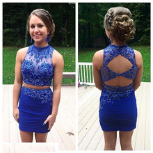 Royal Blue Homecoming Dresses Two Piece Modest Prom Sleeveless Backless Beaded Party Dress
