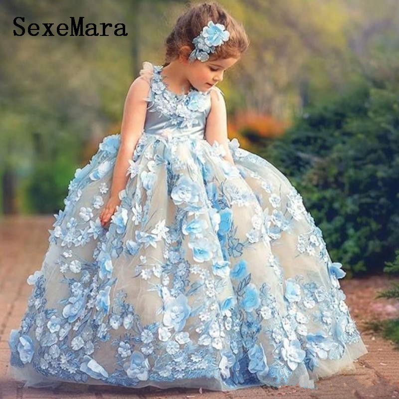 Sky Blue Girls Pageant Dresses Jewel Neck Sleeveless Fluffy Girls Birthday Dresses Fairy 3D Floral Appliques Flower Girl DressSky Blue Girls Pageant Dresses Jewel Neck Sleeveless Fluffy Girls Birthday Dresses Fairy 3D Floral Appliques Flower Girl Dress
